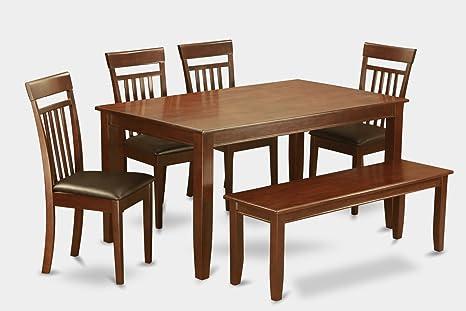 East West Furniture DUCA6D-MAH-LC 6-Piece Kitchen Table Set