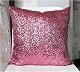 Stylish Comfy Solid Color Sequins Cushion Cover Throw Pillow Case Cafe Decor (Pink)