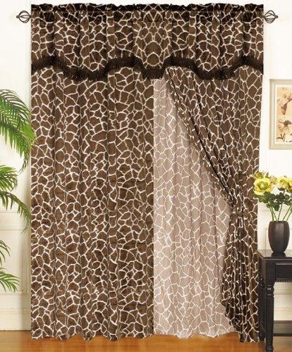 Giraffe Animal Curtain Set W/ Valance/Sheer/Tassels front-464098