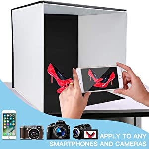 Photo Light Box, SAMTIAN Portable 16x16 Inches Photography Studio Light Box Shooting Tent Kit with 4 Backdrops 3 Color Filters Phone Clip for Photography, Product Advertising (Color: K40II)