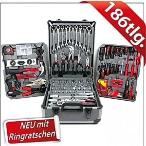 Werkzeugkoffer 186tlg mit Ringratsche Werkzeugkasten Werkzeugbox Werkzeugkiste  BaumarktKundenbewertung und Beschreibung