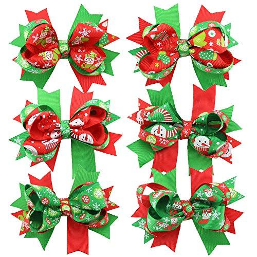 6 Pezzi Gradevole Motivo Forcella Di Natale Decorazione Per Capelli Ricci, Per Bambine Accessori Per Capelli Testa Accessorio