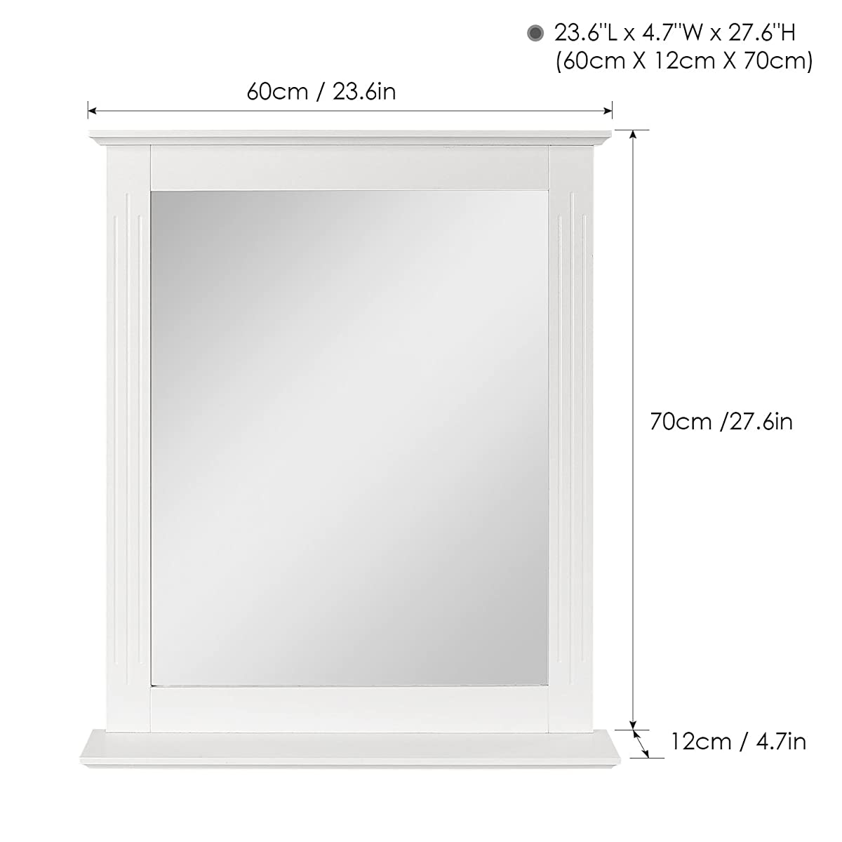 homfa bathroom wall mirror vanity mirror makeup mirror framed mirror with shelf for home multipurpose white - Mirror Framed Mirror