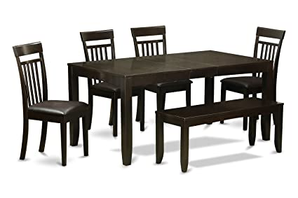 East West Furniture LYCA6-CAP-LC 6-Piece Dining Table Set, Cappuccino Finish