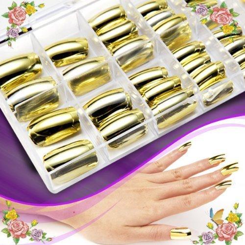 100ppcs Gold/Silver Metal False Nail Tip Artificial Nail Art Tips + Box (gold) by enForten