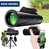 Monocular Telescope, 12X50 High Power Prism Monocular and Quick Smartphone Holder - Waterproof Fog- Proof Shockproof Scope -BAK4 Prism FMC (Fifth Avenue-Store)