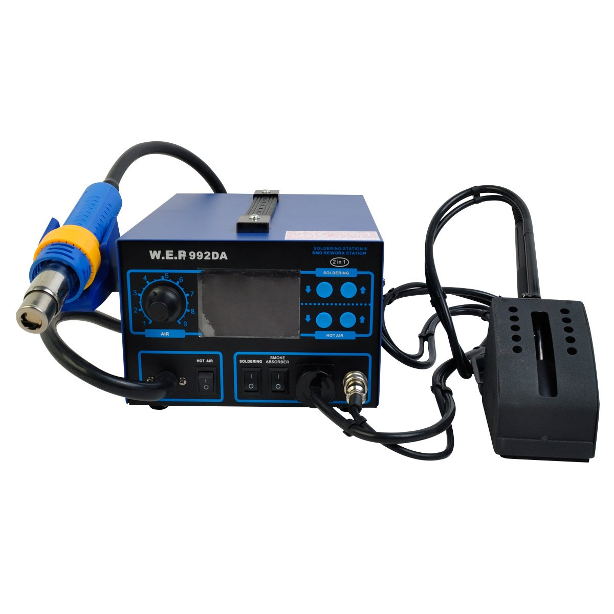 Comie 992DA SMD 3in1 Soldering Station Hot Air Iron Gun Rework smoke absorber Welder Digital LCD 4500w ly 5830c lcd touch screen bga rework station soldering machine hot air 3 zones for motherboard chip repairing free tax eu