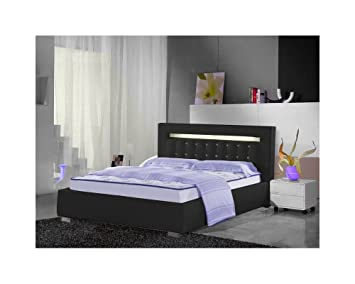 lit design london avec lumi re lumi re 160cmx200cm noir sans matelas avec sommier. Black Bedroom Furniture Sets. Home Design Ideas