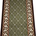 Dean Washable Non-Slip Carpet Rug Runner - Trellis Green - Purchase By the Linear Foot