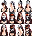 Skullface Set of 2 - Skull & Black Seamless Neck Warmer Face Tube Mask