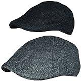 Flatcap Schwarz Grau