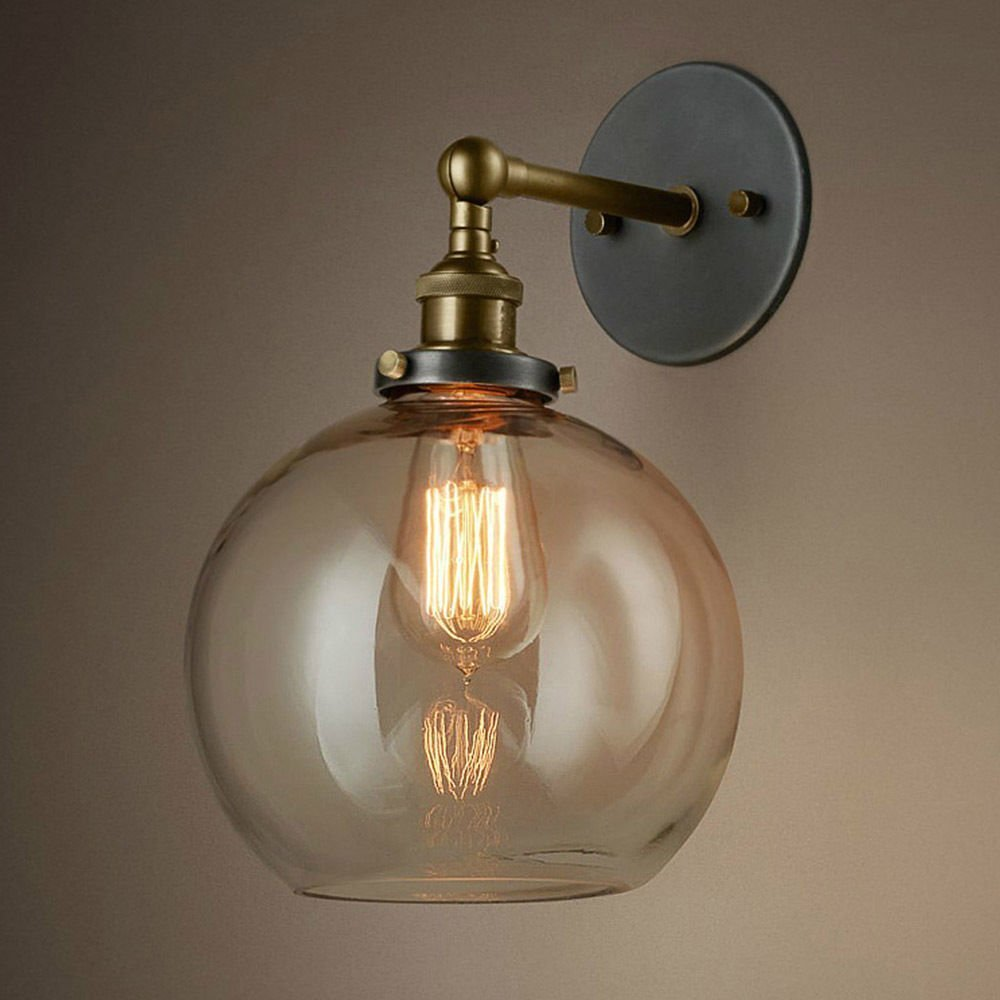 BAYCHEER HL416426 Vintage Industrial Edison Style Finish Round Glass Ball Shape Wall Lamp Vintage Lighting Fixture Lights Wall Sconce 0