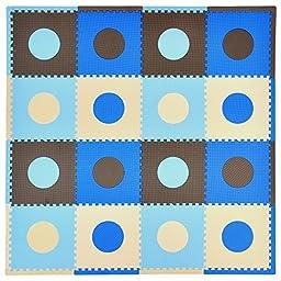 Tadpoles 16 Sq Ft Playmat Set, Blue/Brown