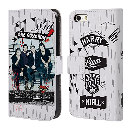Official One Direction White Doodle Midnight Memories Shots Group Leather Book Wallet Case Cover For Apple iPhone 5 / 5s / SE (Iphone 5 S Case One Direction compare prices)