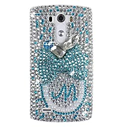 LG G Vista 2 Bling Case - Fairy Art Luxury 3D Sparkle Series Big Bowknot M Crystal Design Back Cover with Soft Wallet Purse Red Cloth Pouch - Light Blue
