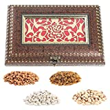 Aaina Ganesh Logo With Ethnic Design And Beads Border Wooden Handicraft Gift Box With Dry Fruits