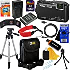 Nikon COOLPIX AW120 16.1 MP Wi-Fi and Waterproof Digital Camera with GPS and Full HD 1080p Video, Black (Import) + EN-EL12 Battery & AC/DC Battery Charger + 11pc Bundle 32GB Deluxe Accessory Kit w/ HeroFiber® Ultra Gentle Cleaning Cloth