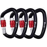 Favofit 25KN Heavy Duty Climbing Carabiners (Weight Limit at 5620 lbs Each), Durable Screwgate Locking Carabiner Clips for Rock Climbing, Rappelling, Rescuing, Swinging, Aerial Yoga, Black, 4 Pack