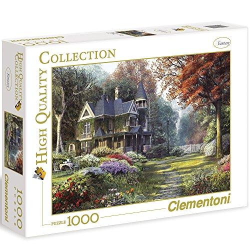 Clementoni Puzzle Haus mit Garten, 1000 Teile, 69 x 50 cm, ab 9 Jahren || Landschaft Natur Puzzel Haus Idylle Blume