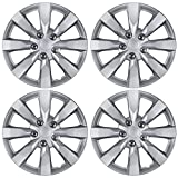 "BDK Toyota Corolla Style Hubcaps 16"" Wheel Covers - 2014 Model Replica Cover, Silver, 4 Pieces"