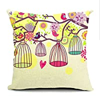 Cotton Linen Bird Cage Lumbar Cushion Cover Pillowcase 18-by-18-inches by Generic