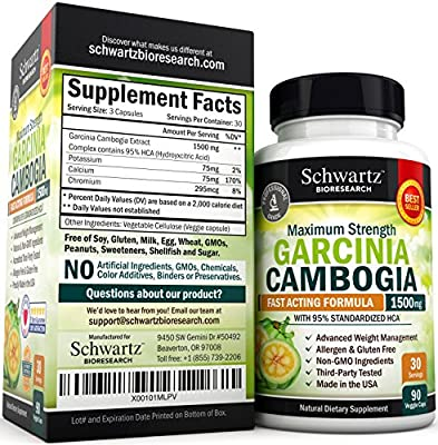 95% HCA Pure Garcinia Cambogia Extract. Fast Acting Appetite Suppressant, Extreme Carb Blocker & Fat Burner Supplement for Fast Weight Loss & Fat Metabolism. Best Garcinia Cambogia Raw Diet Pills