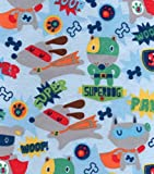 SUPER DOG / HERO 1/2 Yard 100% Cotton Flannel Fabric ~Sewing Quilting Crafts
