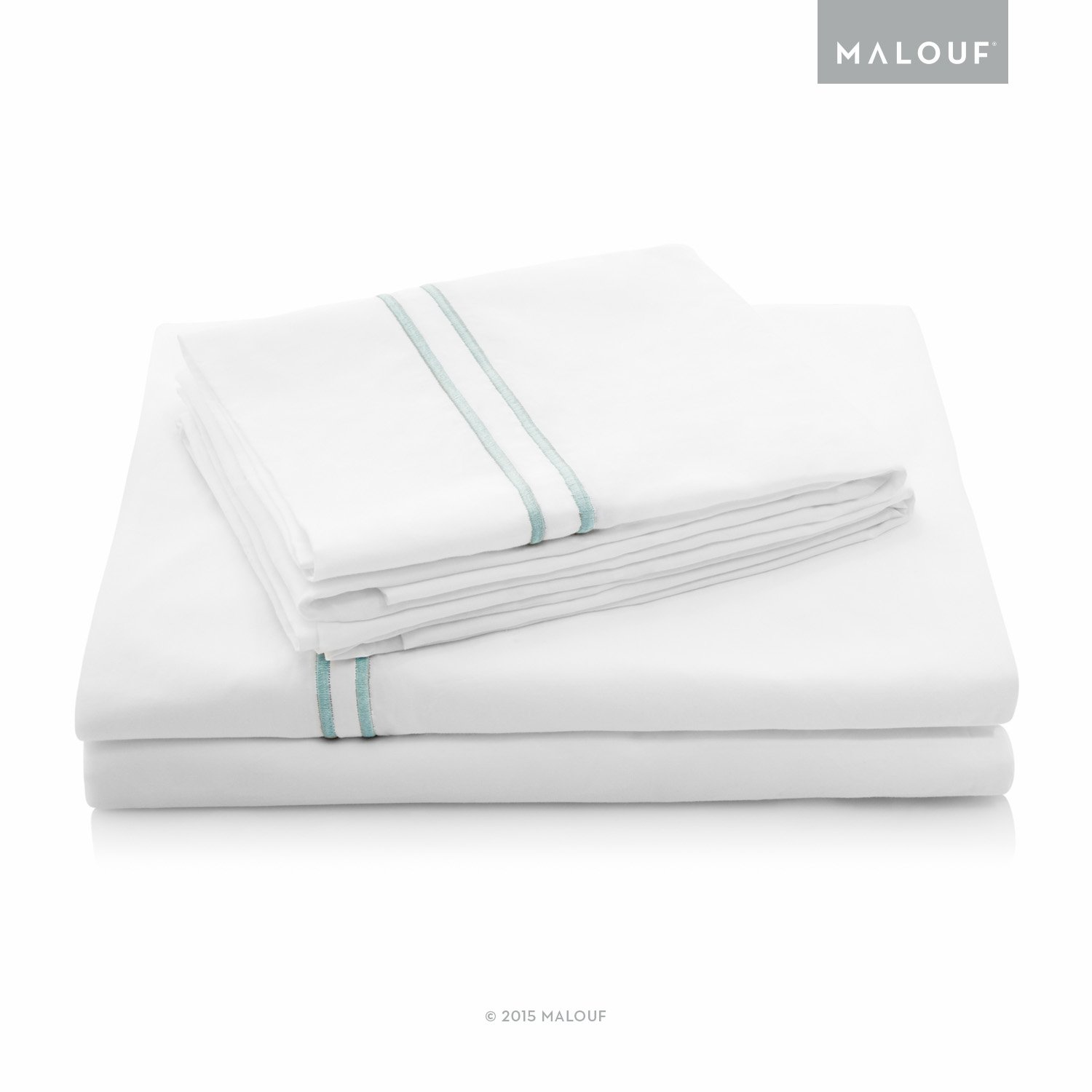 MALOUF 200 Thread Count Percale Hotel Bed Sheet Set