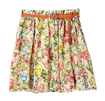 AM CLOTHES Womens Girl Lady Floral Short Princess Skirt (A-BIG FLOWER PINK)