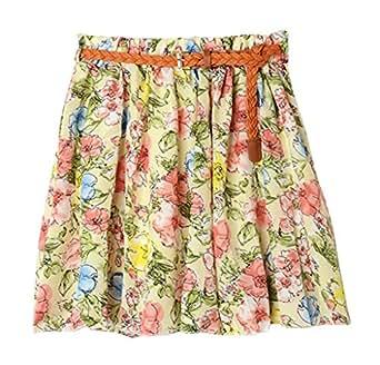 AM CLOTHES Womens Girl Lady Floral Short Princess Skirt (A-BIG FLOWER PINK)