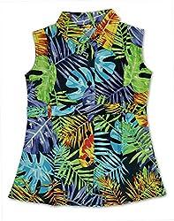 RANGREJA Tropical Dress for Girls Green-blue