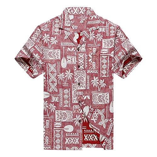 Made in Hawaii Men's Hawaiian Shirt Aloha Shirt Stonewash Vintage Look Classic Red 0