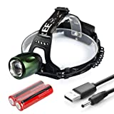 Blinkle Headlamp USB Rechargeable Head Lamp Super Bright with Zoomable,90° Rotation,5 Modes,CREE LED 1500 Lumen Waterproof Headlight for Camping Running Hiking Fishing Climping