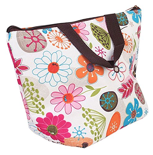 Waterproof Picnic Insulated Fashion Lunch Cooler Tote Bag Travel Zipper Organizer Box,A70-Flower - 1