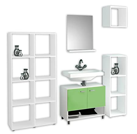 "VCM 5-Piece ""Badola"" Complete Bathroom Furniture Set, White/Green"
