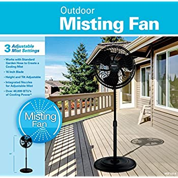 Holmes Group HSF1614-BLU 3-Speed Outdoor Misting Stand Fan, 16