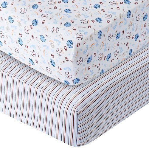 Babies R Us Sateen Crib Sheet 2 Pack - Baseball/Stripe - 1