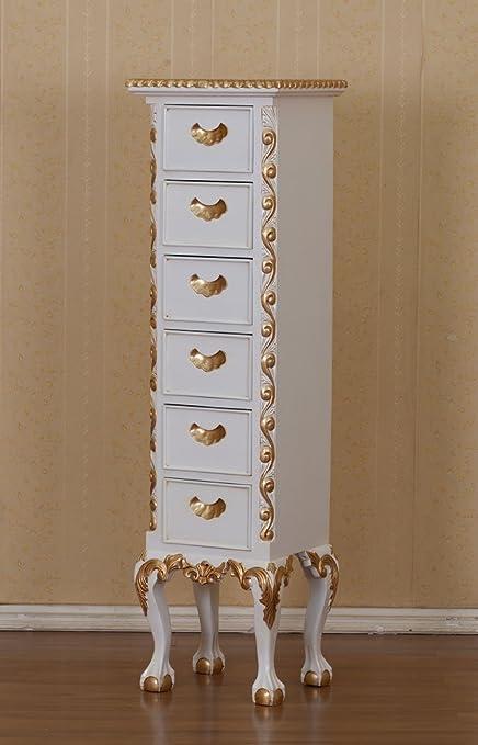 Chippendale Kommode Farbe: weiß mit gold Höhe142xBreite40cm