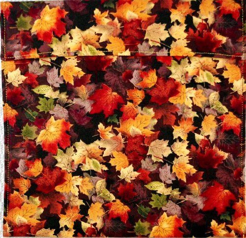 "Premium Microwave Potato Bag - Autumn Maple Leaves - Approximately 10"" x 10"" - 100% Pure Cotton Material, Lined and Insulated - Handmade in the USA - Also Great for Corn on the Cob, Sweet Potatoes, Ca"