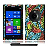 Artistic Beautiful Design Nokia Lumia 1020 Elvis (AT&T / Microsoft Windows Phone 8) Hard Protector Cover Case + Bonus Long Arch 5.5 Baby Blue Screen Cleaning Cloth + Bonus 4 Metallic Black Capacitive Stylus Pen (Seamless Green Blue Red Antique Swirl)