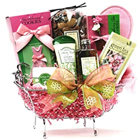 Tub of Tea Time Treats - Green Tea Spa Bath and Body Gift Set with Herbal Tea Gift Basket