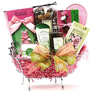 Art of Appreciation Gift Baskets Tea Time Green Tea Spa Set with Gourmet Treats