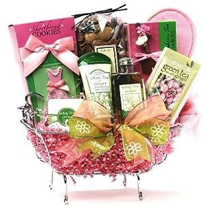 Art of Appreciation Gift Baskets Tea Time Green Tea Spa Set with Gourmet Treats