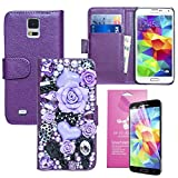 EpicGadget(TM) Samsung Galaxy S5 Handmade Luxury Wallet Case Bling Bling Purple Flower Fairy Tale Princess Case PU Leather Case Magnet Flip Cover With Credit Card Holder + S5 i9600 Screen Protector (US Seller!!) (Flower Fairy Story Purple Case)