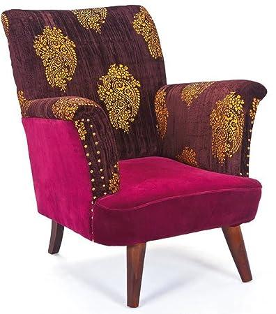 Fauteuil avec assise club vintage en manguier - Dim : 78 x 90 x 102 cm -PEGANE-