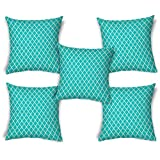 ShopMantra Cross Pattern Printed Cushion Cover Set Of 5 16*16 Inch Multicolor Cushion Cover