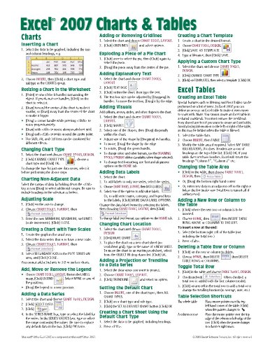 Microsoft Excel 2007 Charts & Tables Quick Reference Guide (Cheat Sheet of Instructions, Tips & Shortcuts - Lami