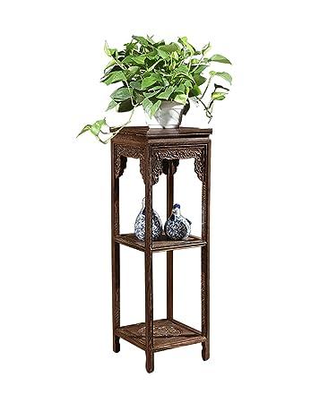Estante interior / exterior Muebles de madera maciza Rack Mobiliario Rack de flores Estantería de flores retro Práctico y duradero ( Color : A , Tamaño : L*W*H:32*32*100cm )