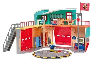 Smoby Toys- 109258282002- Sam Le Pompier, Caserne De Pompier Pontypandy, + 1 Figurine, Piles incluses