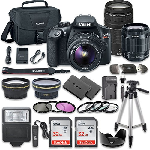 Canon-EOS-Rebel-T6-DSLR-Camera-Bundle-with-Canon-EF-S-18-55mm-f35-56-IS-II-Lens-Canon-EF-75-300mm-f4-56-III-Lens-2pc-SanDisk-32GB-Memory-Cards-Accessory-Kit